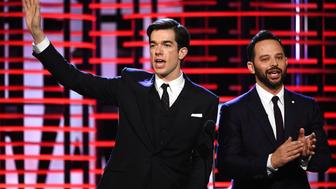 SANTA MONICA, CA - FEBRUARY 25:  Co-hosts John Mulaney (L) and Nick Kroll speak onstage during the 2017 Film Independent Spirit Awards at the Santa Monica Pier on February 25, 2017 in Santa Monica, California.  (Photo by Kevork Djansezian/Getty Images for Film Independent)