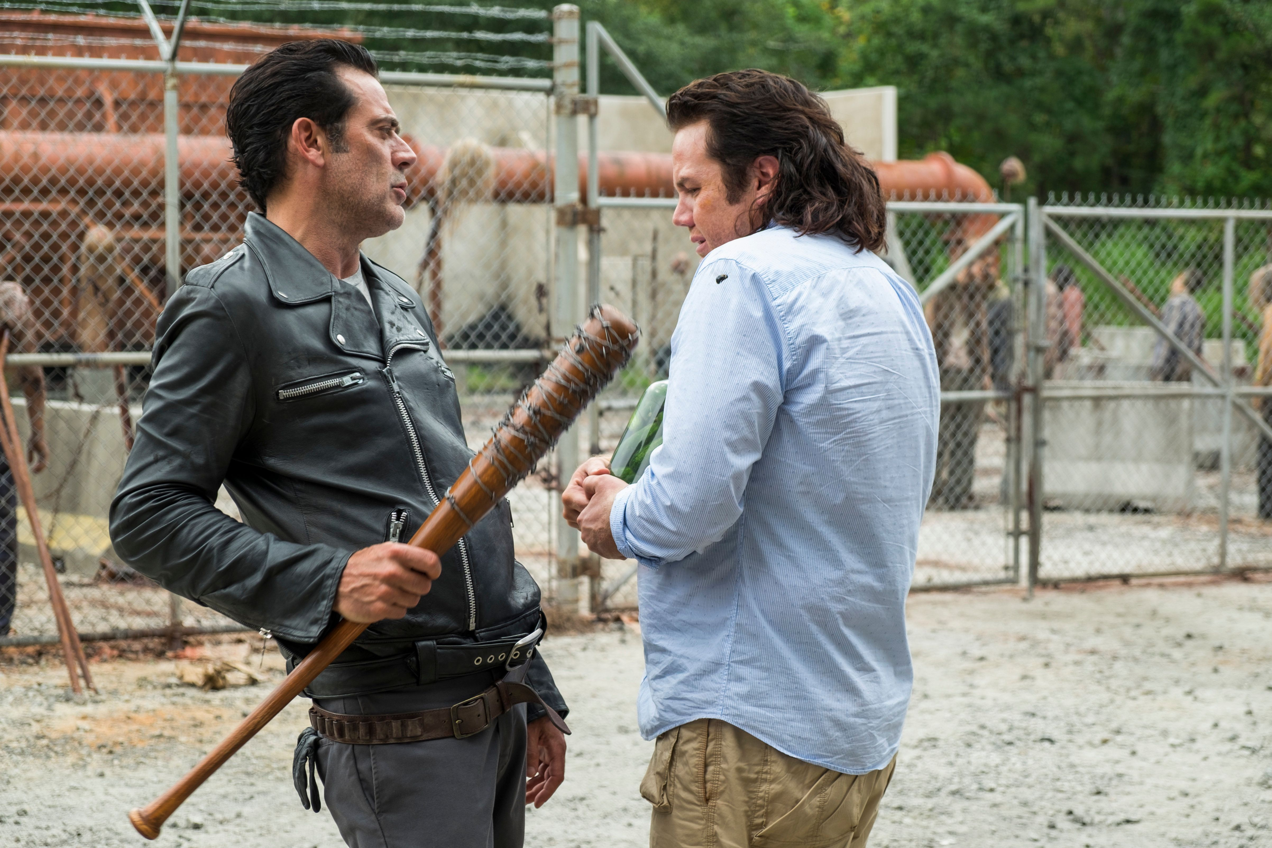Jeffrey Dean Morgan as Negan, Josh McDermitt as Dr. Eugene Porter - The Walking Dead _ Season 7, Episode 11 - Photo Credit: Gene Page/AMC