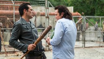Jeffrey Dean Morgan as Negan, Josh McDermitt as Dr. Eugene Porter- The Walking Dead _ Season 7, Episode 11 - Photo Credit: Gene Page/AMC