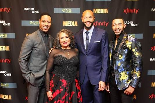 Radio One and TV One founder and Chairperson Cathy Hughes with the men of 'Media.' Pictured left to right: Brian White, Cathy