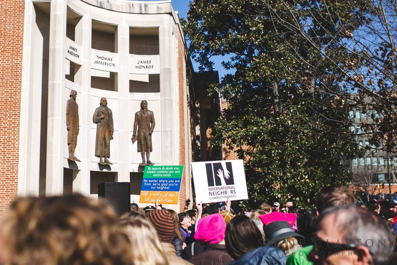 """Rally to declare Charlottesville """"Capital of the resistance"""" in response to the travel ban. Charlottesville, VA, 1/31/17"""