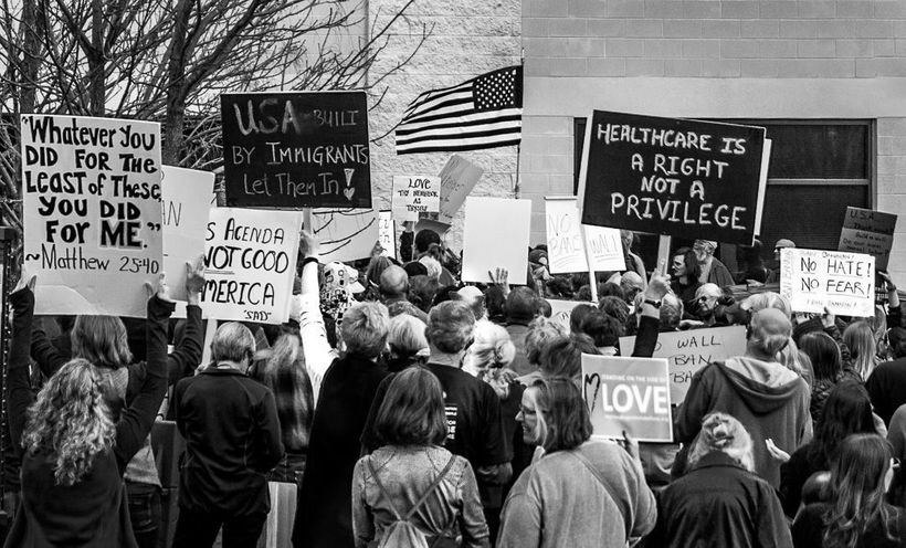 March to Tom Garrett's office in Charlottesville, VA in request for an in-person town hall meeting, 2/7/17