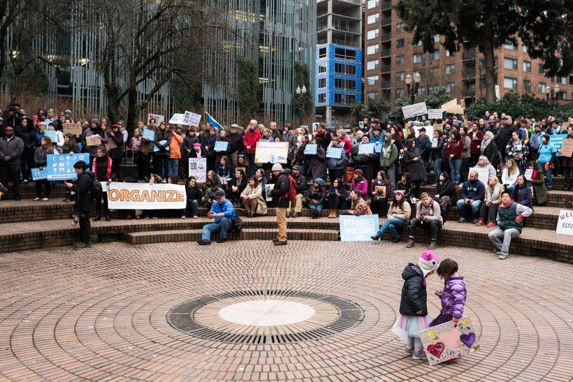 No Ban, No Wall Rally Portland, Oregon 1/30/17
