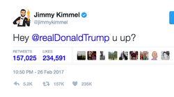 Jimmy Kimmel Expertly Trolls Donald Trump During Oscars, Tweeting 'U
