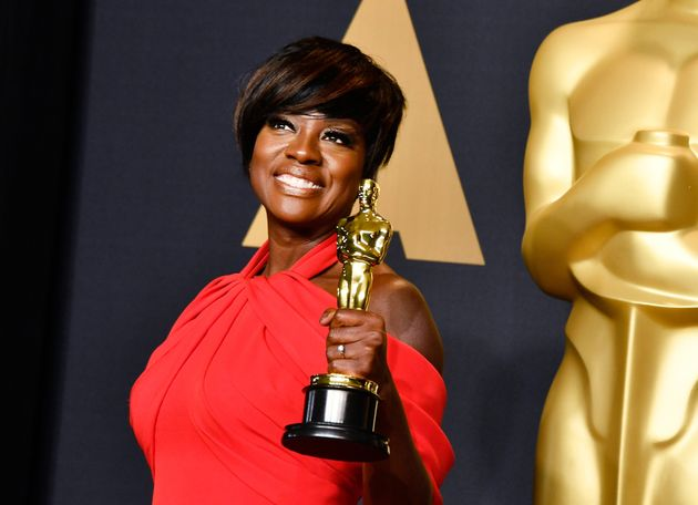 Actor Viola Davis, winner of the Best Supporting Actress award for 'Fences' poses in the press room during...