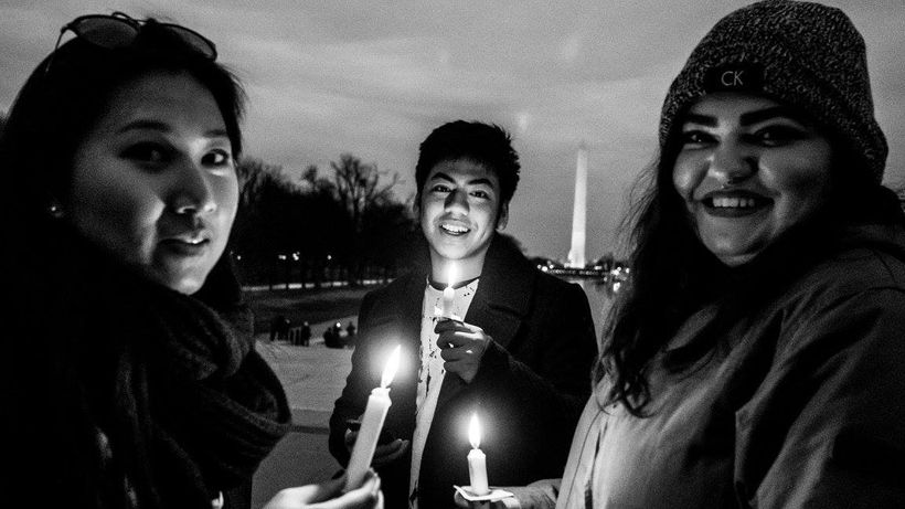 Candlelight Vigil for Peace, Lincoln Memorial, Washington DC, 2/4/17