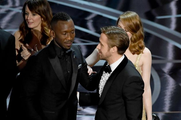 Mahershala and Ryan Gosling on stage, shortly after the