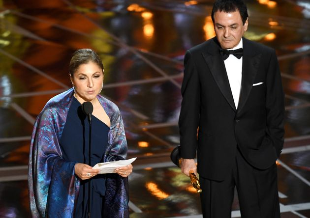 Anousheh Ansari read out a statement on behalf of the absent Asghar Farhadi at the Oscars, following...