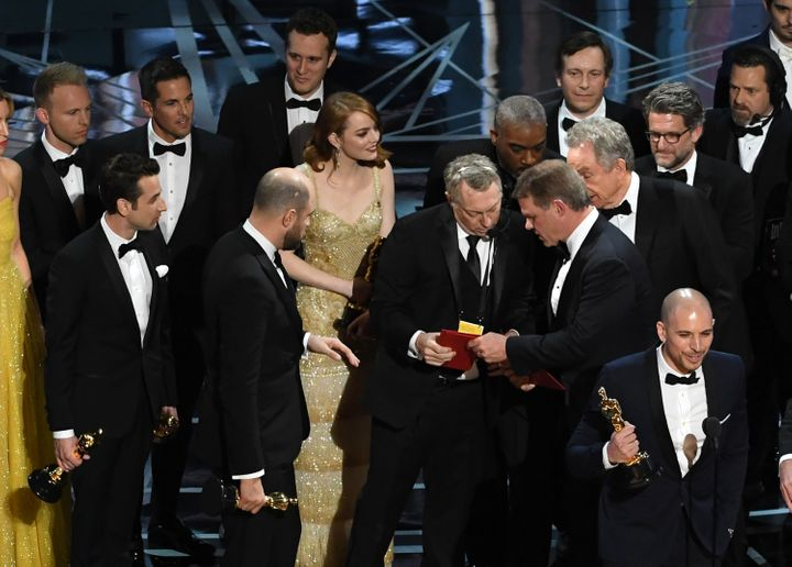 "Commotion broke out as ""La La Land"" producers accept the award for Best Picture."