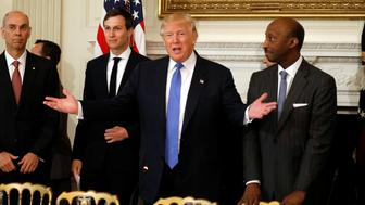 U.S. President Donald Trump arrives to holds a meeting with manufacturing CEOs at the White House in Washington, DC, U.S. February 23, 2017. REUTERS/Kevin Lamarque