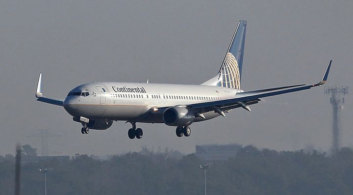 A Continental Airlines Inc. Boeing plane lands at George Bush Intercontinental Airport in Houston, Texas, U.S..