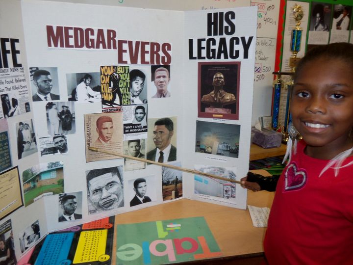 Children at the Baldwin Hills Magnet School in Los Angeles commemorate Black History Month. Photo taken Feb., 2012.