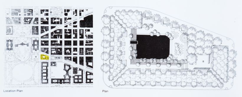 Plan for Pershing Park, right, and Location Plan showing Pershing Park (in yellow) on Pennsylvania Avenue, left. The White Ho
