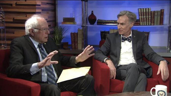 Sen. Bernie Sanders (I-Vt.) asks Bill Nye questions about climate change during a Facebook Live interview Monday.