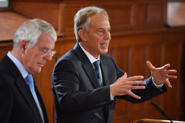 Sir John Major and Tony Blair attend a Remain campaign at the University of Ulster last