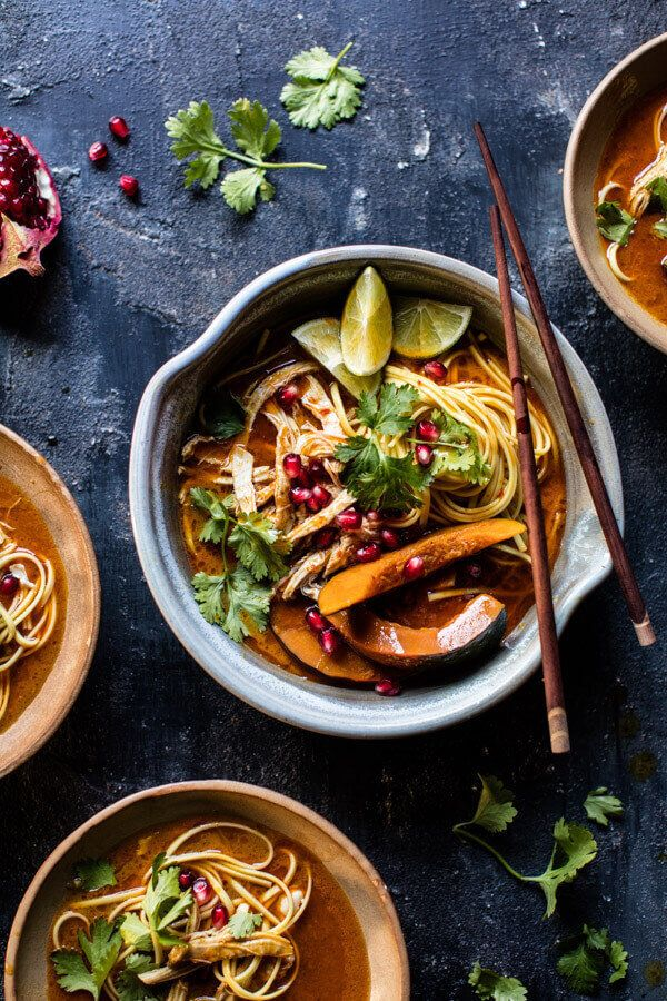 """<strong>Get the <a href=""""https://www.halfbakedharvest.com/thai-pomegranate-chicken-khao-soi-noodle-soup/"""" target=""""_blank"""">Tha"""