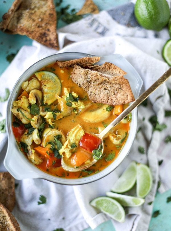 """<strong>Get the <a href=""""http://www.howsweeteats.com/2016/10/golden-coconut-chicken-soup-with-spiced-pitas/"""" target=""""_blank"""">"""