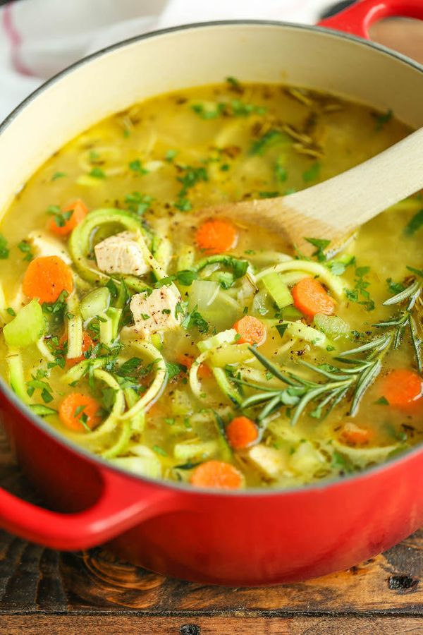 "Get the <a href=""http://damndelicious.net/2016/01/13/chicken-zoodle-soup/"" target=""_blank"">Chicken Zoodle Soup recipe</a>&nbs"
