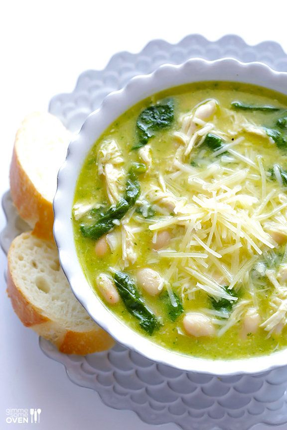 "<strong>Get the <a href=""http://www.gimmesomeoven.com/5-ingredient-pesto-chicken-soup-recipe/"" target=""_blank"">5-Ingredient P"