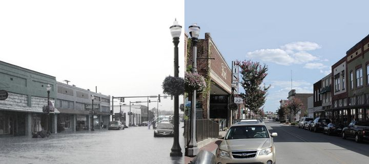 Downtown Conway, before and after the floodwaters cleared