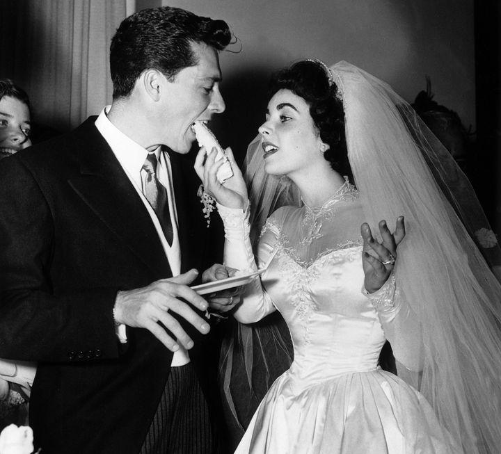 Elizabeth Taylor and her first husband Conrad Hilton Jr.