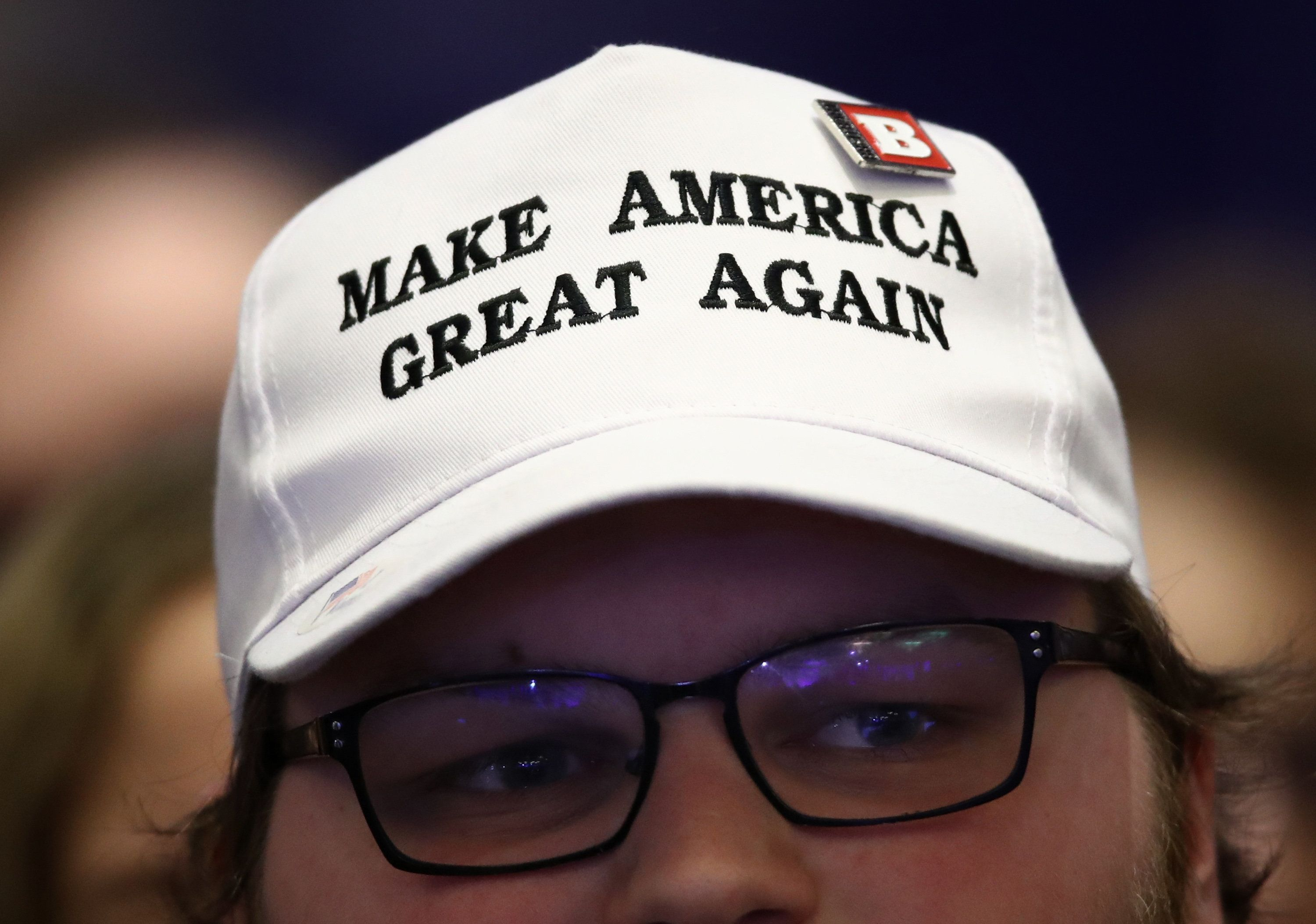 NATIONAL HARBOR, MD - FEBRUARY 24:  A supporter listens as U.S. President Donald Trump speaks during the Conservative Political Action Conference at the Gaylord National Resort and Convention Center February 24, 2017 in National Harbor, Maryland. Hosted by the American Conservative Union, CPAC is an annual gathering of right wing politicians, commentators and their supporters.  (Photo by Win McNamee/Getty Images)