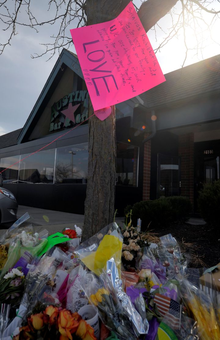 A makeshift memorial outside the Austin's Bar & Grill, where Srinivas Kuchibhotla was shot and killed.