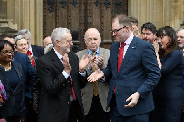 Jeremy Corbyn welcomes new Labour MP Gareth Snell to the