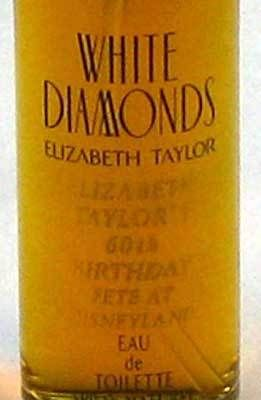 The commemorative bottle of White Diamonds perfume that every party guest received as they exited Disneyland Park.