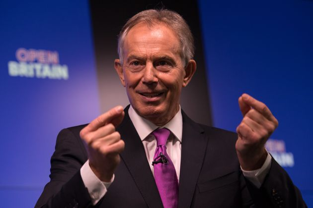 Tony Blair delivers his speech on the weekend before polling