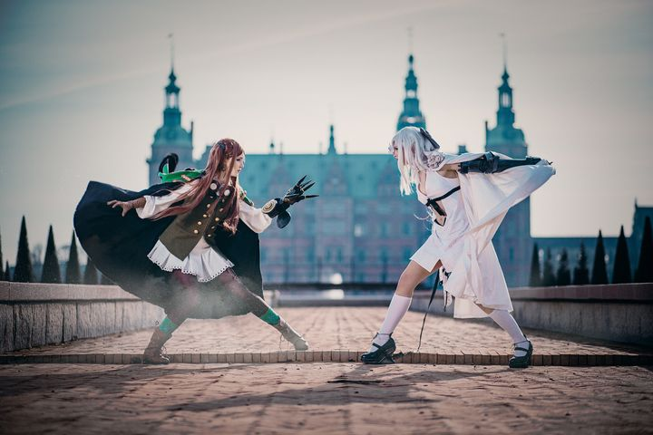 Sørine as Four (left) and Carina as Zero (right) from Drakengard 3.