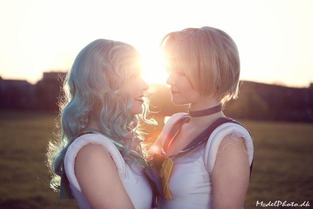 Carina (left)as Sailor Neptune andSørine asSailor Uranus (right) from Sailor