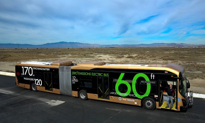 An electric bus built in a manufacturing facility in Lancaster, Calif., by the Chinese electric vehicle company BYD.&nbs