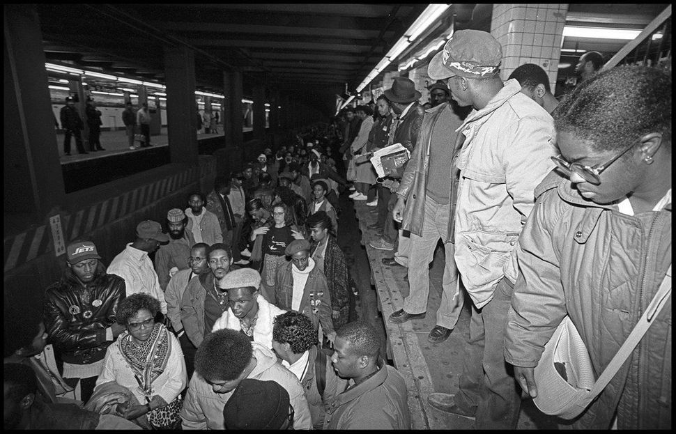 Day of Outrage demonstration at the Jay Street-Borough Hall subway station following the Howard Beach verdict on Dec. 21, 198