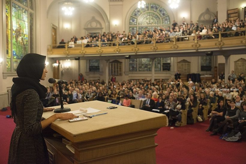 Capacity crowd at #GetOrganizedBK at Beth Elohim, after the election of Donald Trump, 2016