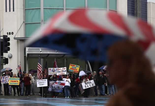 Trump supporters rally in the Southern California city of