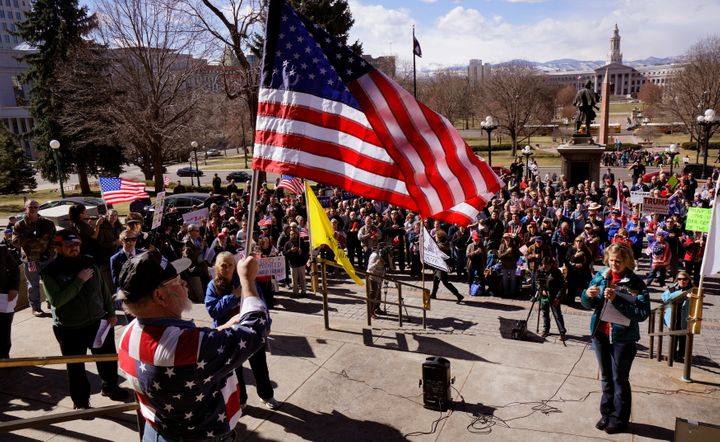 A rally in support of President Trump at the Capitol in Denver.