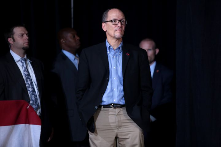 Secretary of Labor Thomas Perez speaking with supporters of Hillary Clinton at a campaign rally with U.S. Senator Tim Kaine a