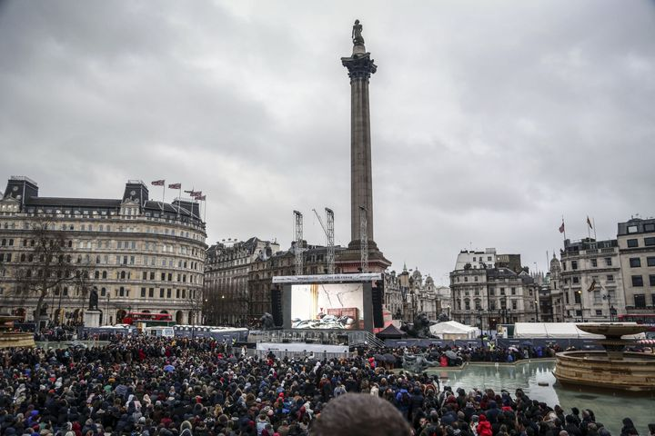 "London Mayor Sadiq Khan told the crowd at the free screening of ""The Salesman"" in Trafalgar Square that the city stands"