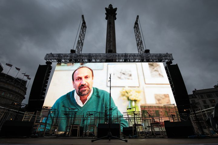 "Farhadi addresses the crowd in a recorded video message during the public screening for the film ""The Salesman"" in Trafalgar"