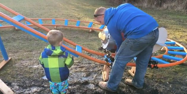 Dad Builds Rollercoaster In Back Garden For Toddler And It Is