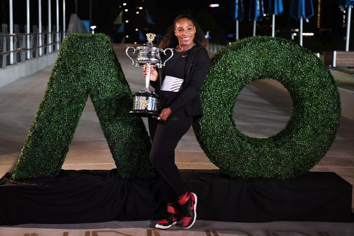 Serena Williams didn't win a trophy for challenging two guys in the park to a game, but she probably made their night.