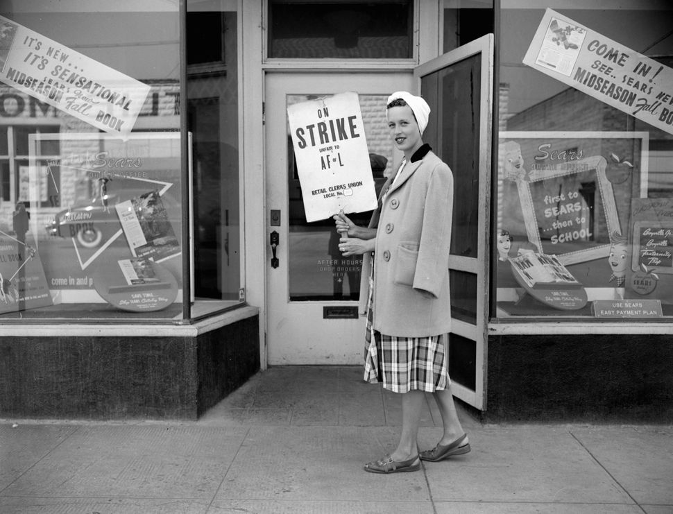 Retail strike against Sears by clerks in Chicago, Illinois, USA, circa 1946.