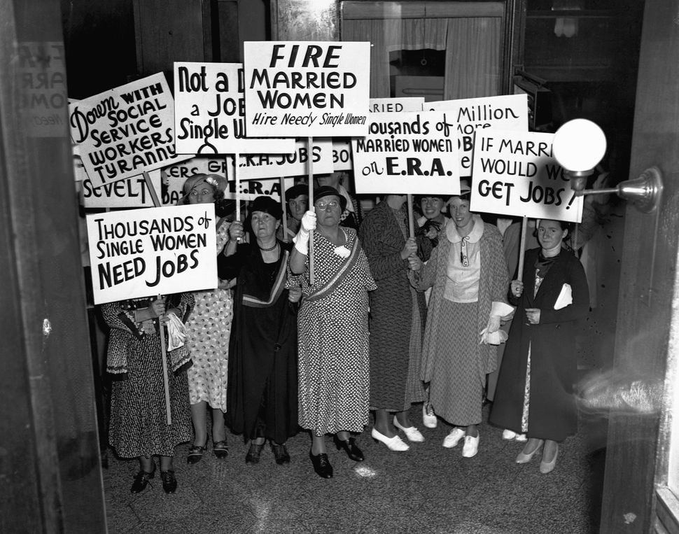 Unemployed, single women protesting the job placement of married women before themselves at the Emergency Relief Administrati