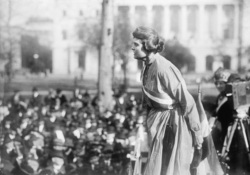 Lucy Branham, Suffragette, at Rally, Washington DC, USA, circa 1919.