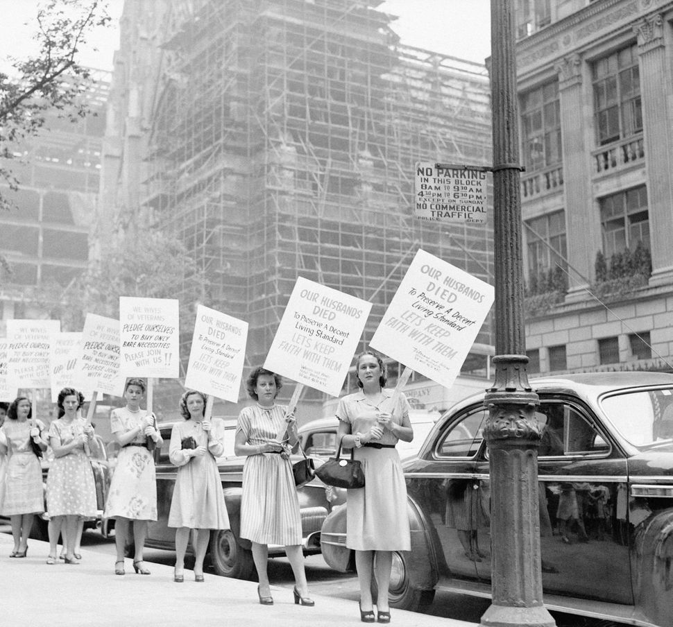 To protest against the rising prices, the GI's widows demonstrate on 5th Avenue, 1946 in New York City, United States.