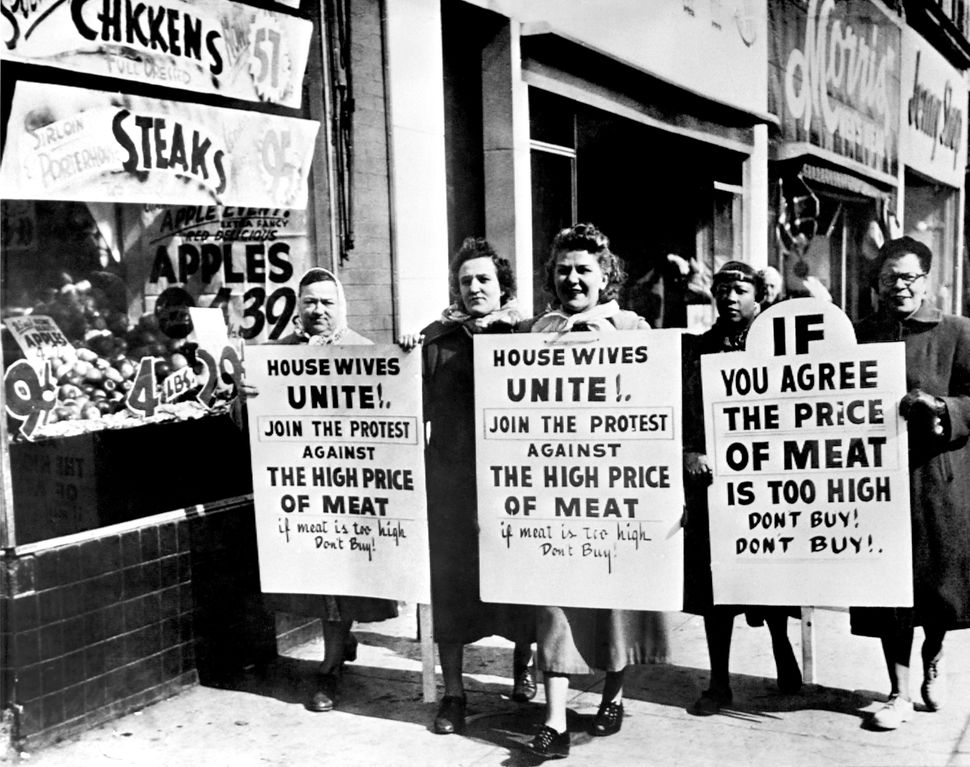 American housewives demonstrate against the high price of meat, on March 14, 1951 in the streets of Philadelphia.