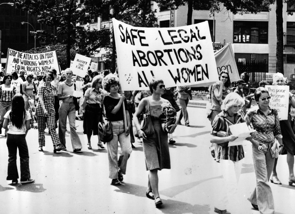 Women taking part in a demonstration in New York demanding safe legal abortions for all women circa 1977.
