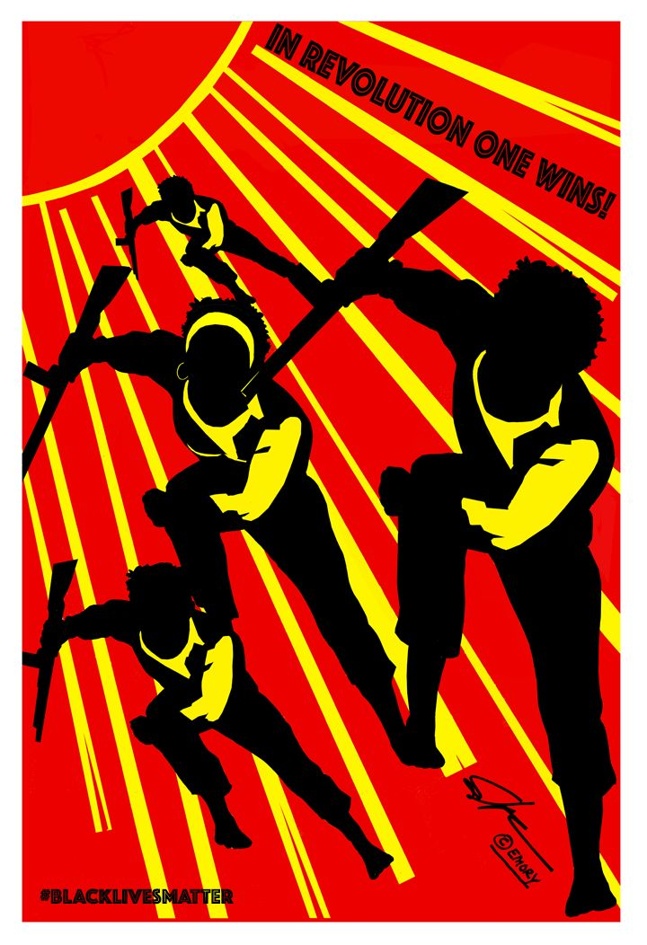 "Artwork by <a href=""https://en.wikipedia.org/wiki/Emory_Douglas"" target=""_blank"">Emory Douglas</a>"