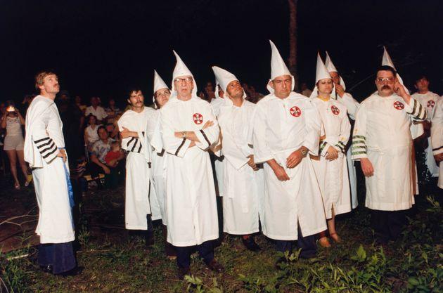 David Duke (far left) at a KKK cross-burning in the